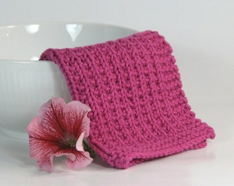 Hand knitted baby wash cloth - soft cotton fuschia pink