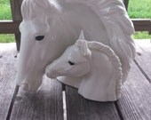 Vintage White Glazed Ceramic Horse Colt Heads Sculpture.