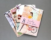 8 Parisian Lady Postcards
