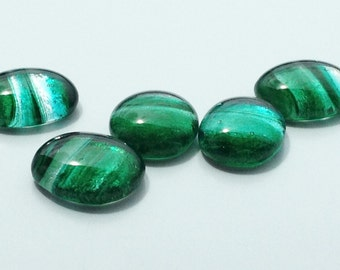 Teal & Clear Striped Oval Glass Cabochons