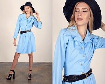 Vintage 70s Jersey Dress Light Blue Cotton Summer Dress