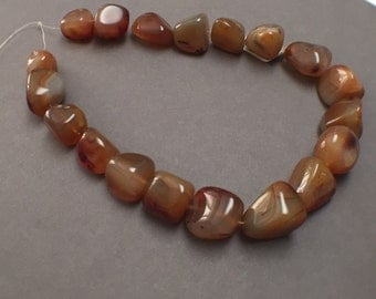 Large Red Line Agate Nugget Beads. Golden Brown. Gemstone Beads. Approx. 18mm - 22mm. Three (3) Beads.