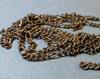 Antique Copper Mother-Son Chain. Bulk Chain. 6x3 and 13x3mm. 120 inch (10 Feet).