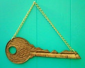 Vintage 70s Brass Key Shape Key Rack Housewares Home Decor Home Living Wall Hanging Hook Storage Organization