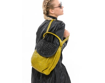 Yellow cross body bag, Fashion Fine Leather Bag, Slouchy Purse, Handmade Everyday Handbag, Sack Bag ,