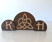 Celtic Trinity Knot with Heart Burned Wood Wedding Cake Topper 3-Piece Set with your personalized custom letters