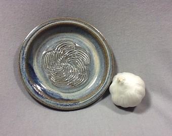 Garlic Grater Dipping Dish. Opal glaze.