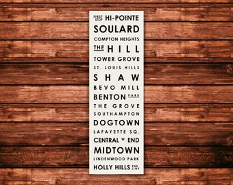 "St. Louis Neighborhood Typographic Bus Roll - Subway Sign Art Print 12"" x 36"""