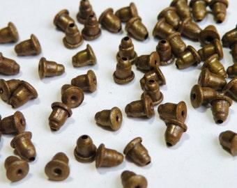 50 Rustic Barrel Earnuts antique bronze for post earring backs 5x5mm TOPMX93
