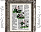 SALE Piglet Gardening & Planting an Acorn on Vintage Upcycled Dictionary Art Print Book Art Print Classic Winnie the Pooh Nursery Book Lover