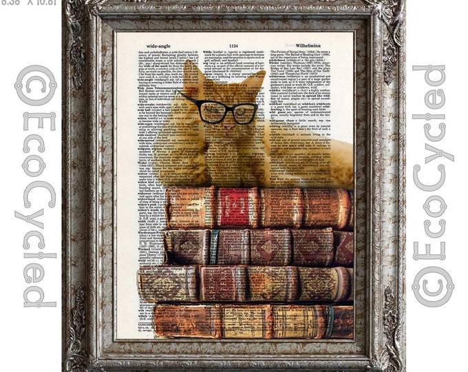 Pondering Thinking Cat and Books 6 on Vintage Upcycled Dictionary Art Print Book Art Print Recycled Reading Read Literacy bookworm gift