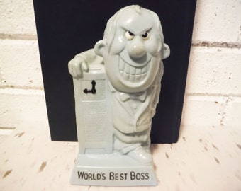 Mean boss trophy figurine retro office humor world's best vintage timeclock 1970's shabby