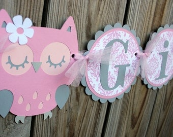 owl banner/ Pink and gray It's a Girl  owl banner/ pink and  grey owl banner