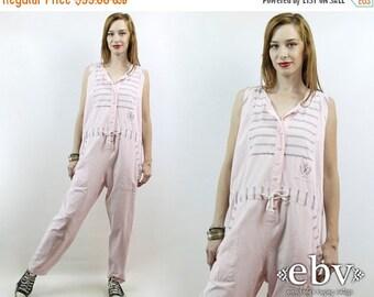 Vintage 90s Pink + Grey Striped Jumpsuit M L 90s Jumpsuit Pink Jumpsuit 80s Jumpsuit