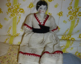 China Head Antique Doll Small Size Fully Dressed Great Condition