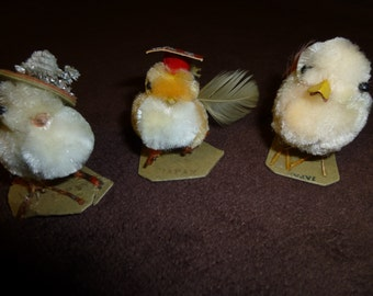 Easter Chicks Vintage Chenille Ornaments