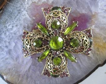 Vintage Olive Green and Brown Rhinestone Maltese Cross