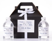 Wedding Guest Gifts - 25 Wedding Favor Box / Welcome Box Labels Gable Wedding Box Set with 50 Water Bottle Labels