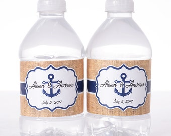 "Nautical Wedding Stickers - 30 Wedding Water Bottle Labels - Need a different quantity? Click on the ""choose total"" tab to see all pricing"