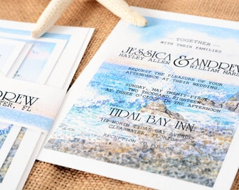 Wedding Invitations - DEPOSIT TO START The Seaside Suite - Custom Wedding Invites - Personalized Wedding Invitations - Full Wedding Suites