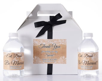 Custom Wedding Boxes - 25 Wedding Favor Box / Welcome Box Labels Gable Wedding Box Set with 50 Water Bottle Labels