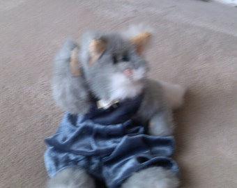 Gray Attic Treasure Cat white Snout in Blue Valour Pantsuit Fully Articulated