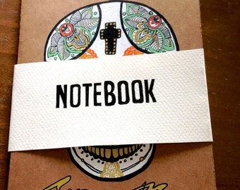 Handmade sketchbook with mexican skull