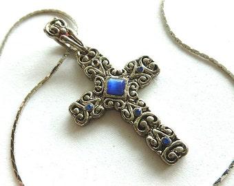 Blue TIGERS EYE & Rhinestones Silvertone Cross, Vintage Scrollwork Design Cross Pendant, Cross and Neck Chain, Cross Necklace, Silver Cross