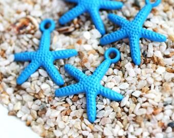 4pc Blue Starfish Charms, Painted Metal Casting, Starfish beads, Sea star, nautical, beach - F453