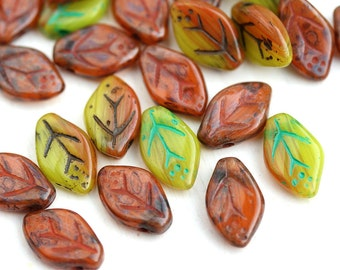 12x7mm Autumn Leaf beads MIX, Picasso Brown Orange, Green, Yellow, Czech glass pressed leaves - 25Pc - 1721
