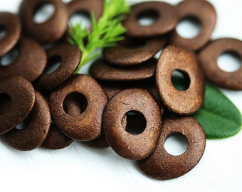Metallic Brown Greek Ceramic Cornflake beads, Dark Brown, donut, rondelle, for leather cord, washer, 10mm - 20pc - 0774