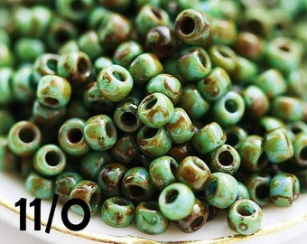 Seed beads, TOHO, size 11/0, Turquoise Picasso, Y307, hybrid, japanese seed beads - 10g - S621