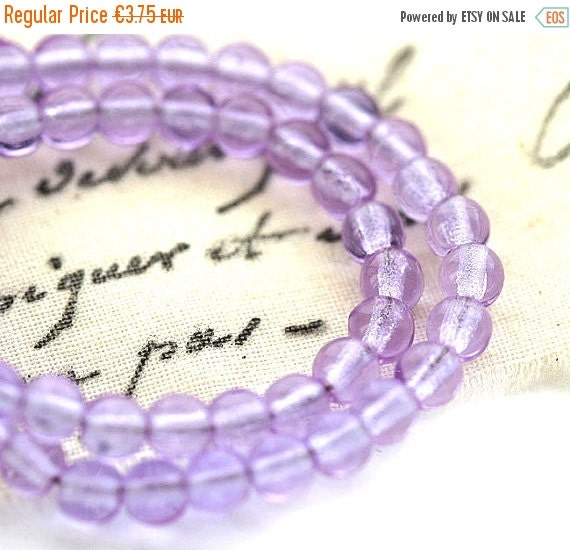 30%OFF SALE 4mm Lilac glass beads, czech round spacers, druk, light lavender - 100Pc - 0303