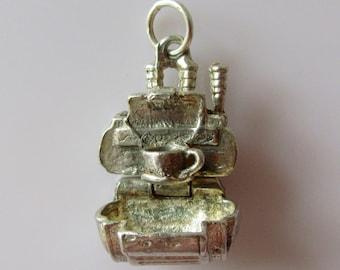 Silver Coffee Machine Charm Opens