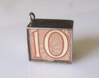Vintage Silver Ten Shilling Note Charm Emergency Money