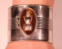 Jean Paul GAULTIER Vintage 80s Silver Plate Solid Perfume Extra Large Cuff Bracelet Numbered Collectibles