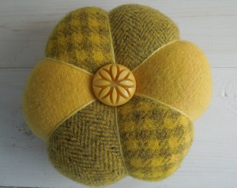 Pincushion - Felted Wool - Shades of Yellow Gold