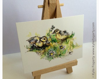 "Duckling - ACEO Print of Pen and Wash Painting of a ""Two Ducklings with Daisies"" by Kylie Fogarty Art"
