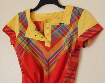 Vintage plaid shirt red and yellow drawstring blouse picnic wear Size M