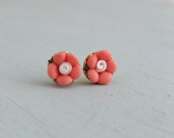 Pink Flower Earrings .. pink post earrings, ceramic flower, coral pink, tiny earrings