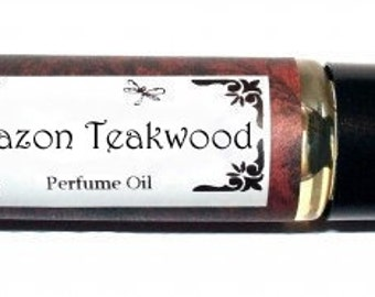 AMAZON TEAKWOOD Roll on Perfume Oil - 2 sizes to choose from - 1/3 oz or 1/6 oz - rain forest highlighted by apple, bamboo, pine & greens