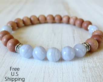 Rosewood, Blue Lace agate, healing bracelet, Yoga Bracelet, intention, Meditation bracelet, Reiki, mala, blue lace , mala beads, tribal