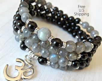 Labradorite, 108 Mala,  wrap bracelet, 108 necklace, Yoga bracelet, Reiki Charged, Buddhist rosary, Prayer beads, Om Mala, labradorite Mala