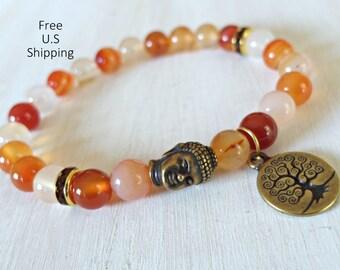 Buddha bracelet, Tree of life, Carnelian, Yoga Bracelet, Meditation bracelet, Reiki Charged, wrist mala, Buddha mala, prayer beads, Mala