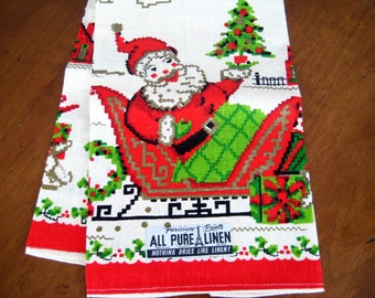 Vintage Christmas Tea Towel, Santa In Sleigh, Linen, New Old Stock, 3 Available