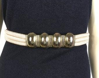 Vintage Belt 70s 80s Brass Buckle Cream Rope Belt Medium to Large
