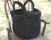 Crochet Tote Bag Market Bag Purse Handbag Black Fleck