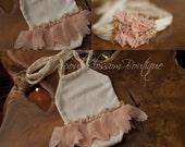 Newborn Photo Prop - Newborn Romper. Jersey Tieback. Newborn Halo.  Ballerina.  Beaded.  Knit.  Organic Photography Props, lace
