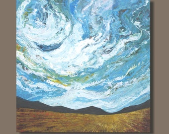 FREE SHIP large abstract painting, landscape painting, foothills, turquoise blue, prairies, stretched canvas art wheat field, big sky clouds
