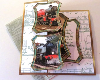Handmade birthday pop out card with train and matching envelope.